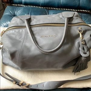 Trina Turk dark grey leather shoulder bag